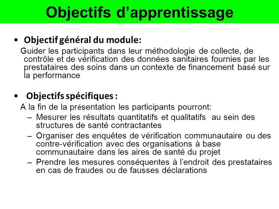 Objectifs dapprentissage Objectif général du module: Guider les participants dans leur méthodologie de collecte, de contrôle et de vérification des do