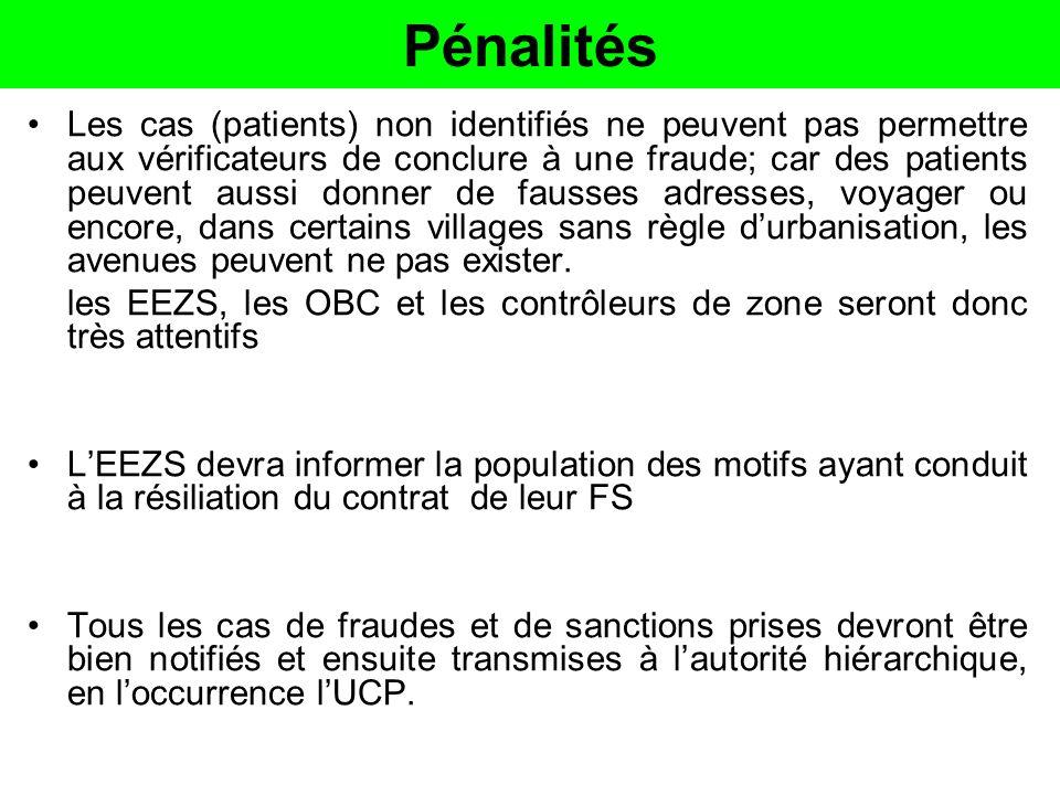 Pénalités Les cas (patients) non identifiés ne peuvent pas permettre aux vérificateurs de conclure à une fraude; car des patients peuvent aussi donner