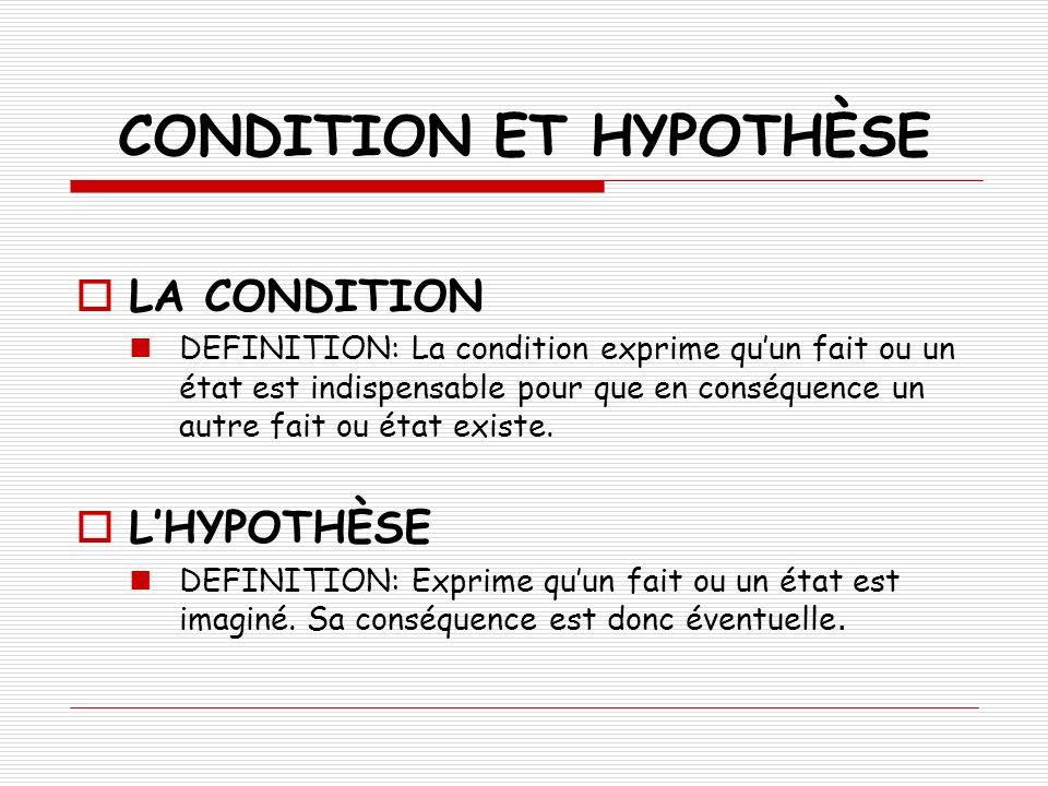 EXPRESSION DE LA CONDITION OU DE LHYPOTHÈSE PAR SI Même sil est difficile daborder une différence entre lexpression de la condition et de lhypothèse, nous allons essayer ici de faire un schèma approximatif des différents moyens détablir une phrase au sens conditionnel ou hypothètique à travers une subordonnée introduite par la conjonction si.