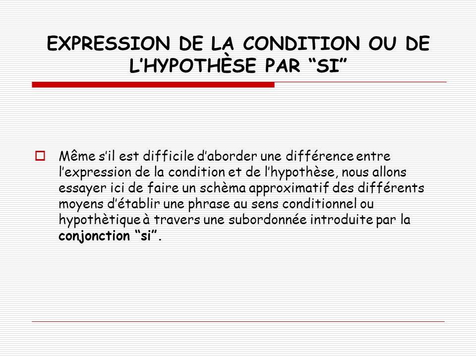 EXPRIMER LA CONDITION AVEC SI: La conséquence est exprimée à lindicatif ou à limpératif.