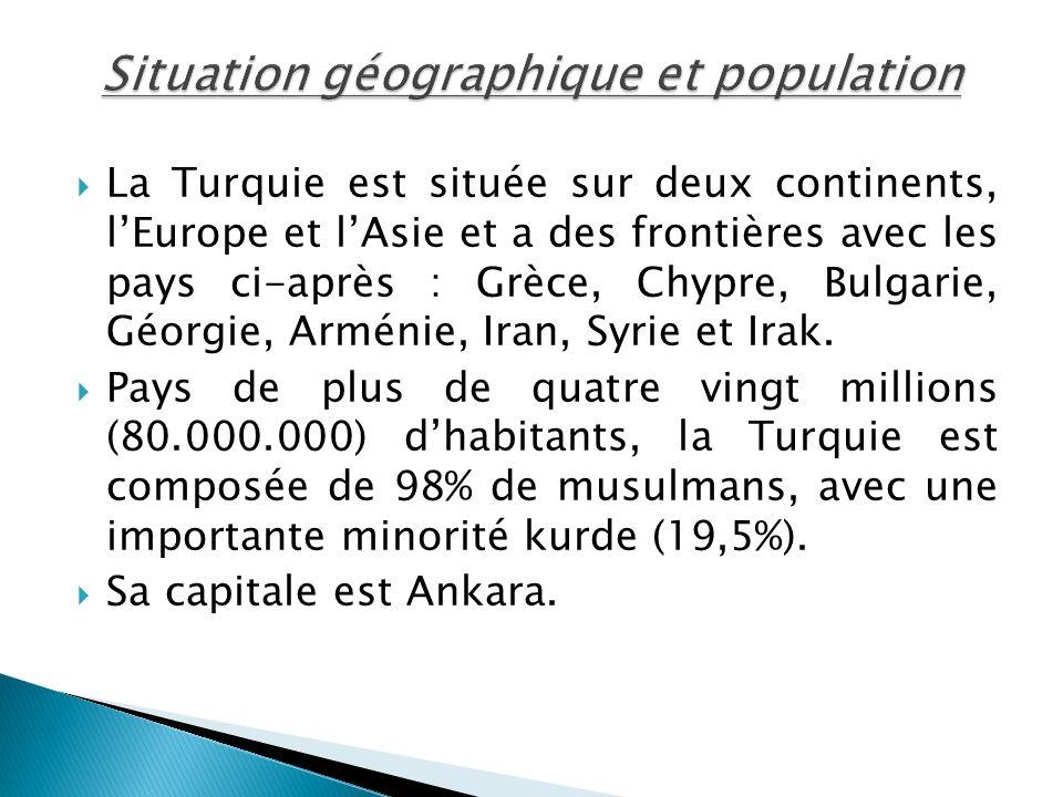La Turquie est située sur deux continents, lEurope et lAsie et a des frontières avec les pays ci-après : Grèce, Chypre, Bulgarie, Géorgie, Arménie, Ir