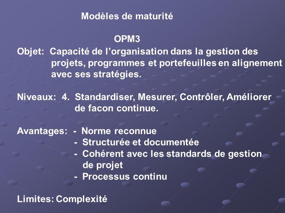 Modèles de maturité OPM3 Objet: Capacité de lorganisation dans la gestion des projets, programmes et portefeuilles en alignement avec ses stratégies.