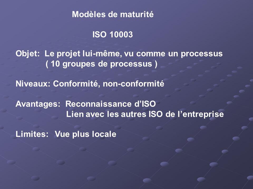 Modèles de maturité ISO 10003 Objet: Le projet lui-même, vu comme un processus ( 10 groupes de processus ) Niveaux: Conformité, non-conformité Avantages: Reconnaissance dISO Lien avec les autres ISO de lentreprise Limites: Vue plus locale