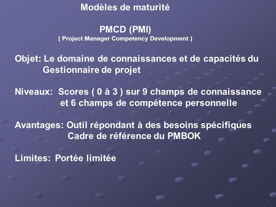 Modèles de maturité PMCD (PMI) ( Project Manager Competency Development ) Objet: Le domaine de connaissances et de capacités du Gestionnaire de projet Niveaux: Scores ( 0 à 3 ) sur 9 champs de connaissance et 6 champs de compétence personnelle Avantages: Outil répondant à des besoins spécifiques Cadre de référence du PMBOK Limites: Portée limitée