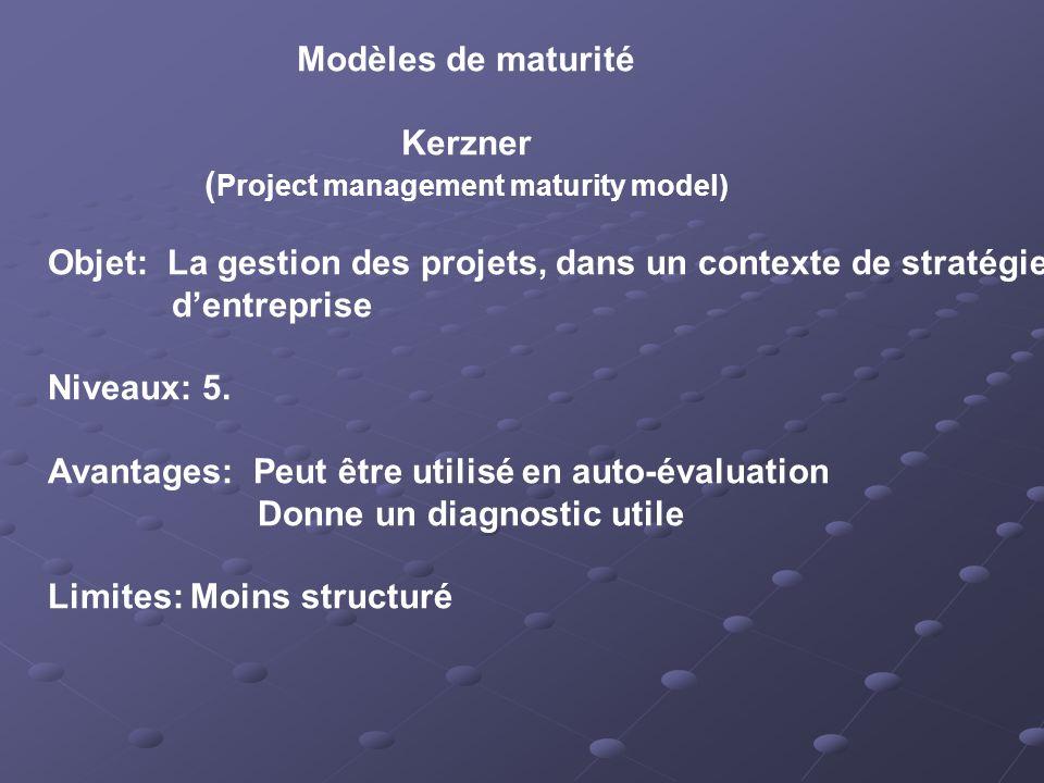 Modèles de maturité Kerzner ( Project management maturity model) Objet: La gestion des projets, dans un contexte de stratégie dentreprise Niveaux: 5.
