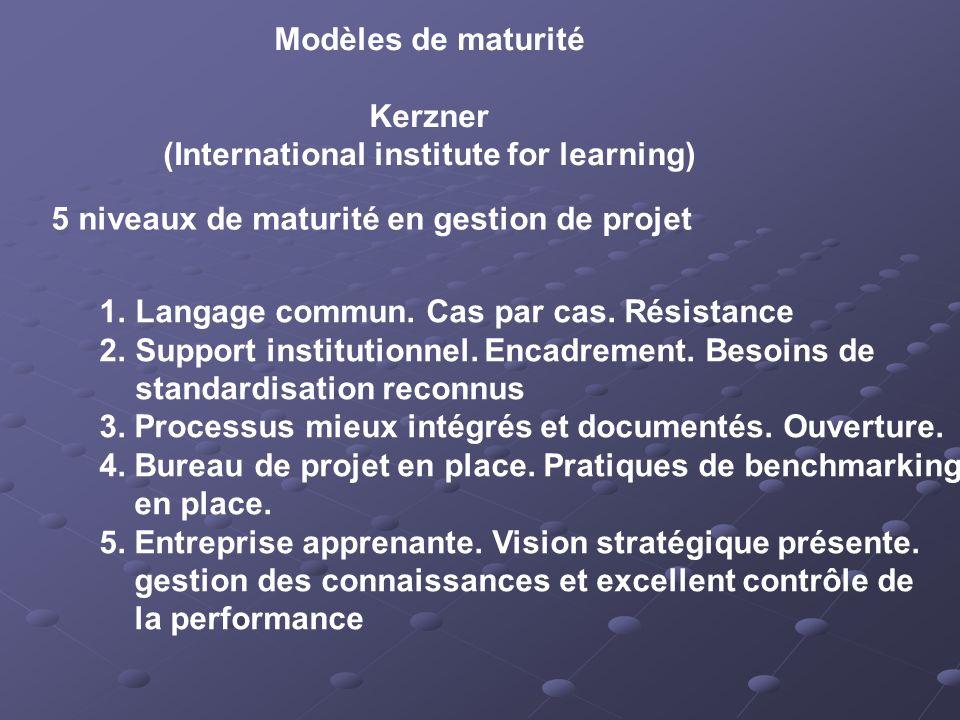 Modèles de maturité Kerzner (International institute for learning) 5 niveaux de maturité en gestion de projet 1.Langage commun.