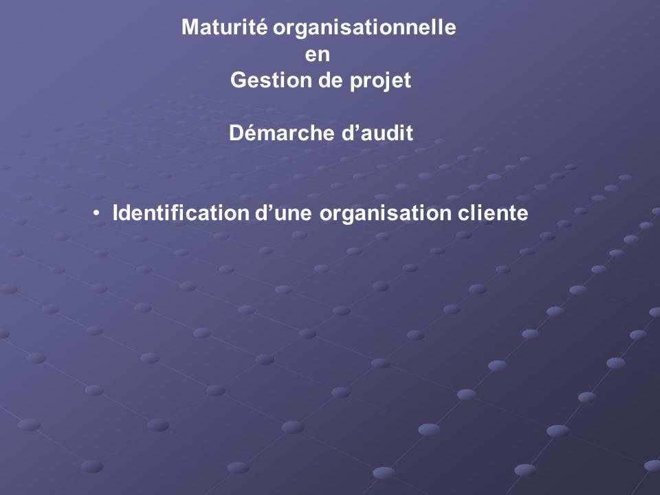 Maturité organisationnelle en Gestion de projet Démarche daudit Identification dune organisation cliente