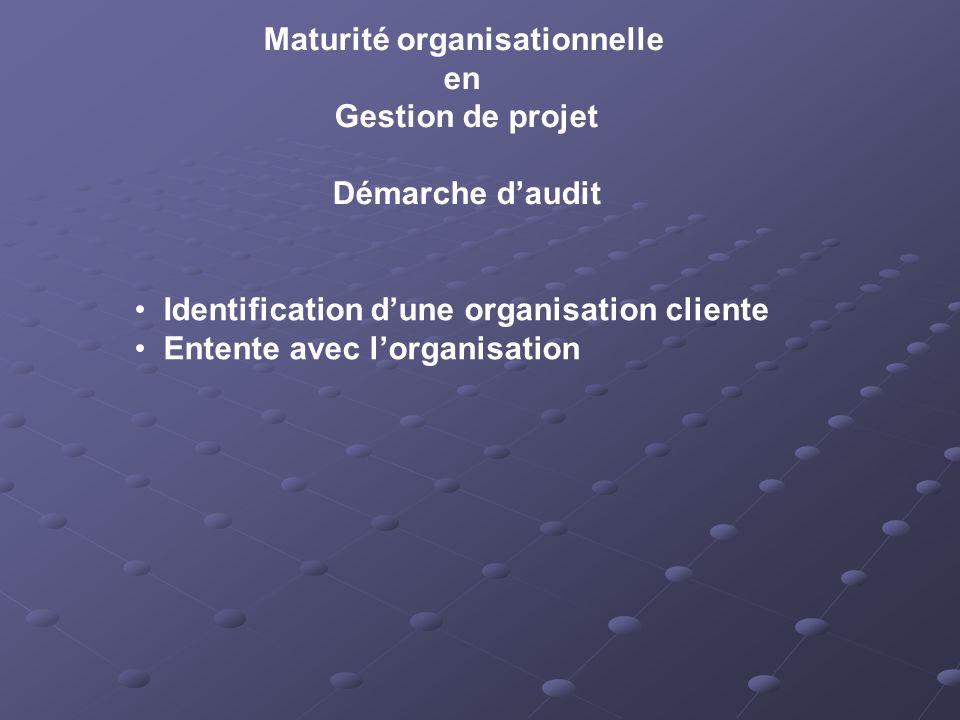 Maturité organisationnelle en Gestion de projet Démarche daudit Identification dune organisation cliente Entente avec lorganisation