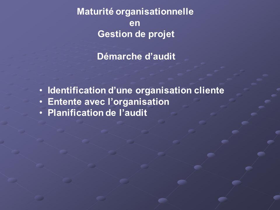 Maturité organisationnelle en Gestion de projet Démarche daudit Identification dune organisation cliente Entente avec lorganisation Planification de laudit