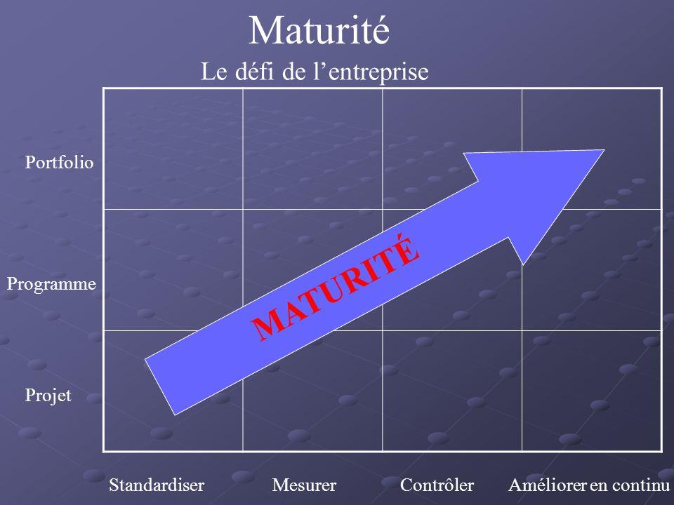 Maturité Le défi de lentreprise Portfolio Programme Projet Standardiser Mesurer Contrôler Améliorer en continu MATURITÉ