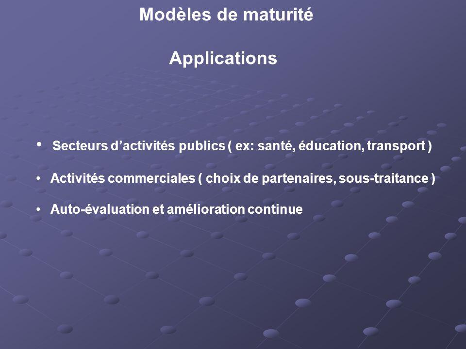 Modèles de maturité Applications Secteurs dactivités publics ( ex: santé, éducation, transport ) Activités commerciales ( choix de partenaires, sous-traitance ) Auto-évaluation et amélioration continue