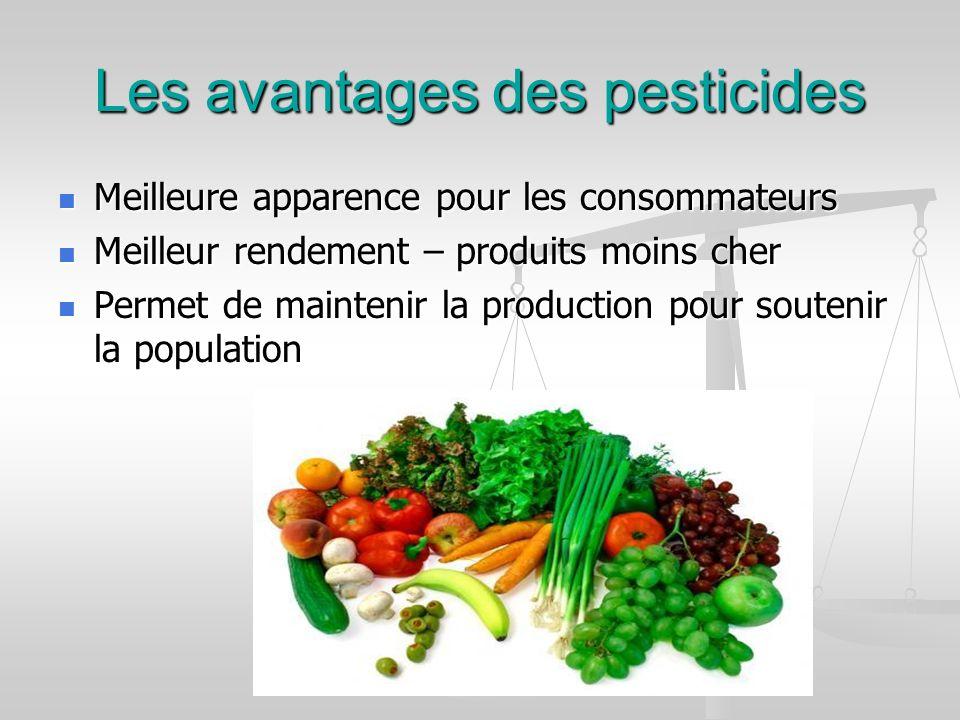 Les avantages des pesticides Meilleure apparence pour les consommateurs Meilleure apparence pour les consommateurs Meilleur rendement – produits moins