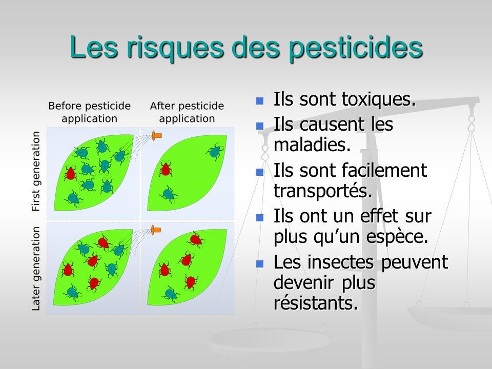 Les risques des pesticides Ils sont toxiques. Ils causent les maladies. Ils sont facilement transportés. Ils ont un effet sur plus quun espèce. Les in
