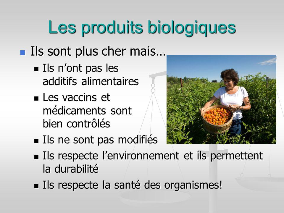 Les produits biologiques Ils sont plus cher mais… Ils nont pas les additifs alimentaires Les vaccins et médicaments sont bien contrôlés Ils ne sont pa