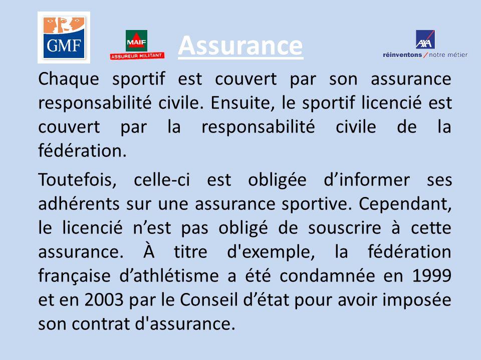 Assurance Chaque sportif est couvert par son assurance responsabilité civile. Ensuite, le sportif licencié est couvert par la responsabilité civile de