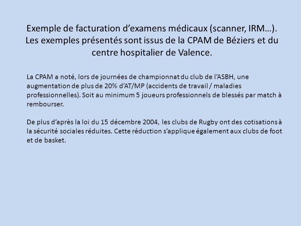 Exemple de facturation dexamens médicaux (scanner, IRM…). Les exemples présentés sont issus de la CPAM de Béziers et du centre hospitalier de Valence.