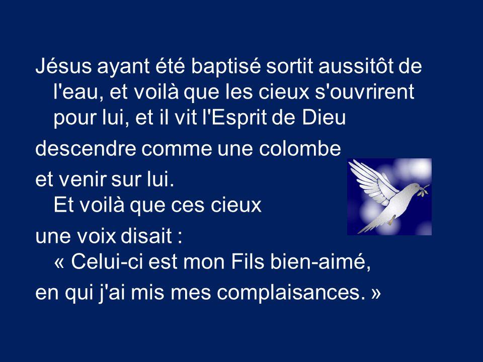 Jésus ayant été baptisé sortit aussitôt de l'eau, et voilà que les cieux s'ouvrirent pour lui, et il vit l'Esprit de Dieu descendre comme une colombe