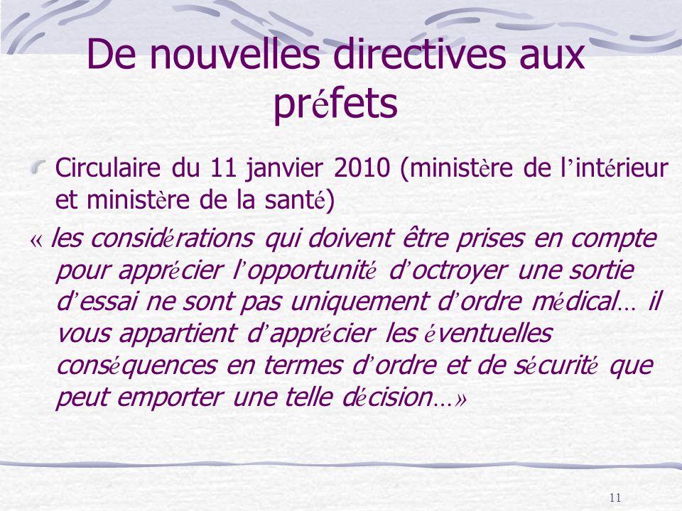 11 De nouvelles directives aux pr é fets Circulaire du 11 janvier 2010 (minist è re de l int é rieur et minist è re de la sant é ) « les consid é rati
