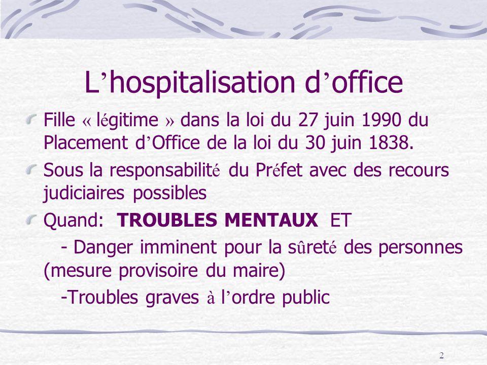 2 L hospitalisation d office Fille « l é gitime » dans la loi du 27 juin 1990 du Placement d Office de la loi du 30 juin 1838. Sous la responsabilit é