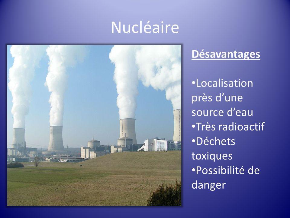 Nucléaire Désavantages Localisation près dune source deau Très radioactif Déchets toxiques Possibilité de danger