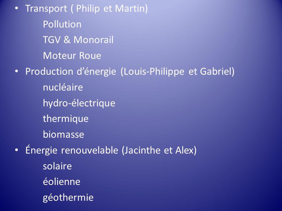 Transport ( Philip et Martin) Pollution TGV & Monorail Moteur Roue Production dénergie (Louis-Philippe et Gabriel) nucléaire hydro-électrique thermiqu