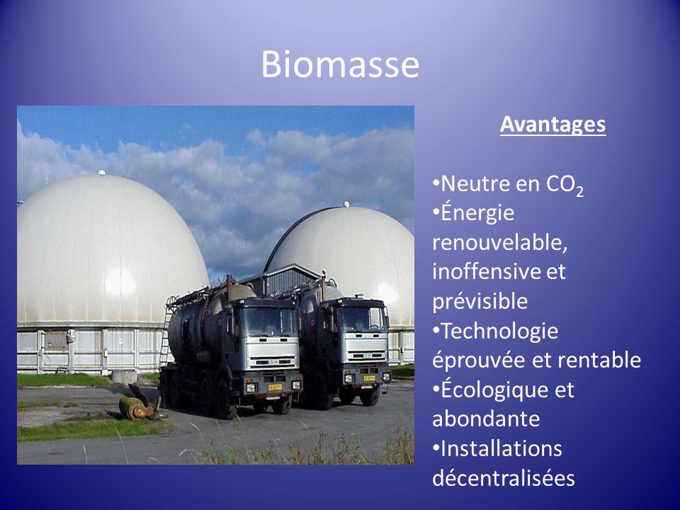 Avantages Neutre en CO 2 Énergie renouvelable, inoffensive et prévisible Technologie éprouvée et rentable Écologique et abondante Installations décent