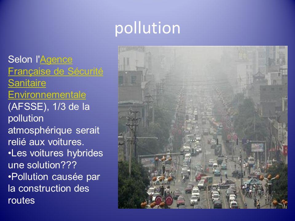 pollution Selon l'Agence Française de Sécurité Sanitaire Environnementale (AFSSE), 1/3 de la pollution atmosphérique serait relié aux voitures.Agence