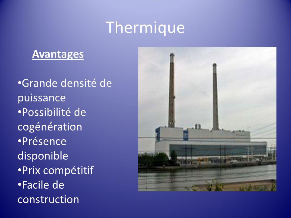 Avantages Grande densité de puissance Possibilité de cogénération Présence disponible Prix compétitif Facile de construction