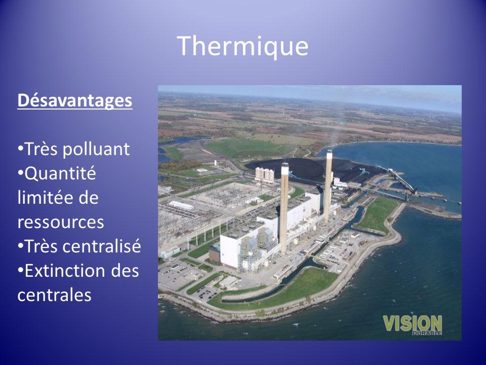 Désavantages Très polluant Quantité limitée de ressources Très centralisé Extinction des centrales