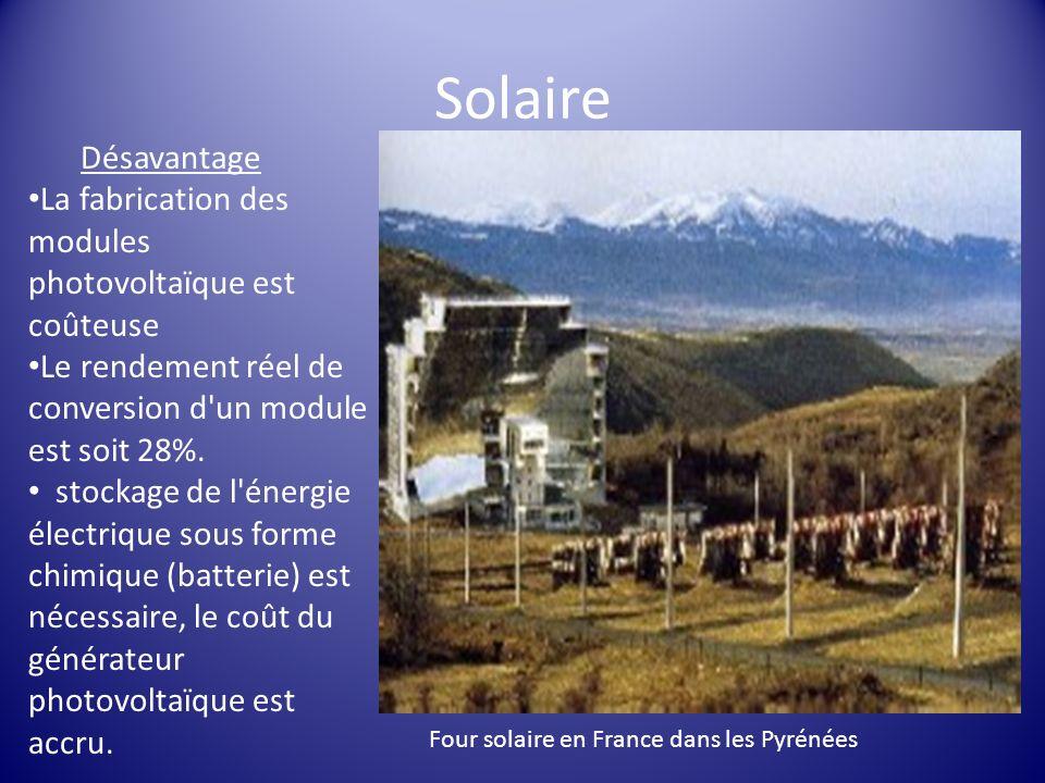 Solaire Désavantage La fabrication des modules photovoltaïque est coûteuse Le rendement réel de conversion d'un module est soit 28%. stockage de l'éne