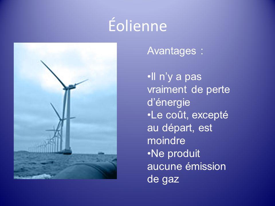 Éolienne Avantages : Il ny a pas vraiment de perte dénergie Le coût, excepté au départ, est moindre Ne produit aucune émission de gaz