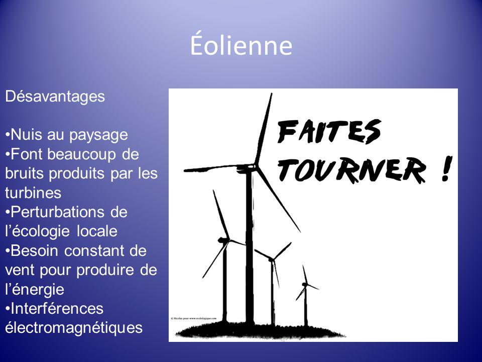 Éolienne Désavantages Nuis au paysage Font beaucoup de bruits produits par les turbines Perturbations de lécologie locale Besoin constant de vent pour