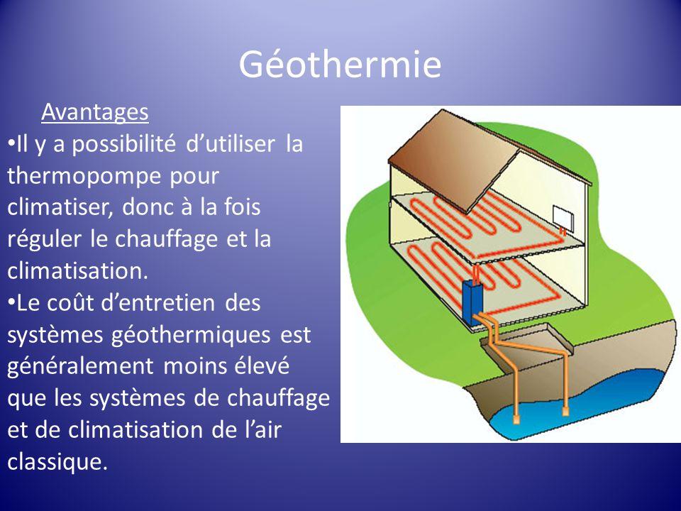 Géothermie Avantages Il y a possibilité dutiliser la thermopompe pour climatiser, donc à la fois réguler le chauffage et la climatisation. Le coût den