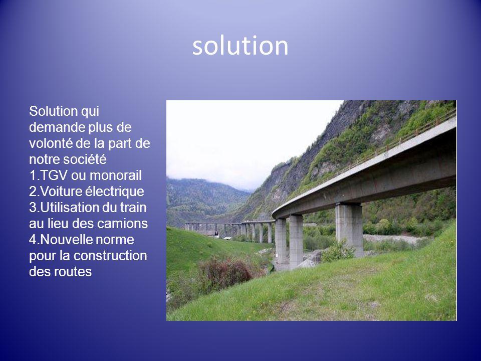solution Solution qui demande plus de volonté de la part de notre société 1.TGV ou monorail 2.Voiture électrique 3.Utilisation du train au lieu des ca