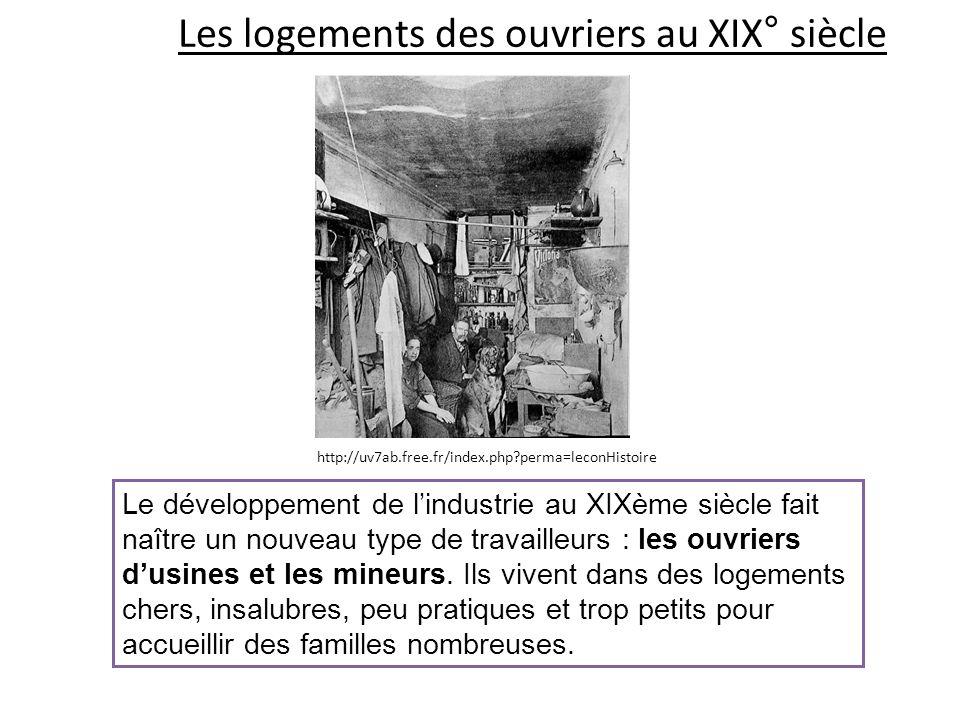 Les logements des ouvriers au XIX° siècle Le développement de lindustrie au XIXème siècle fait naître un nouveau type de travailleurs : les ouvriers d