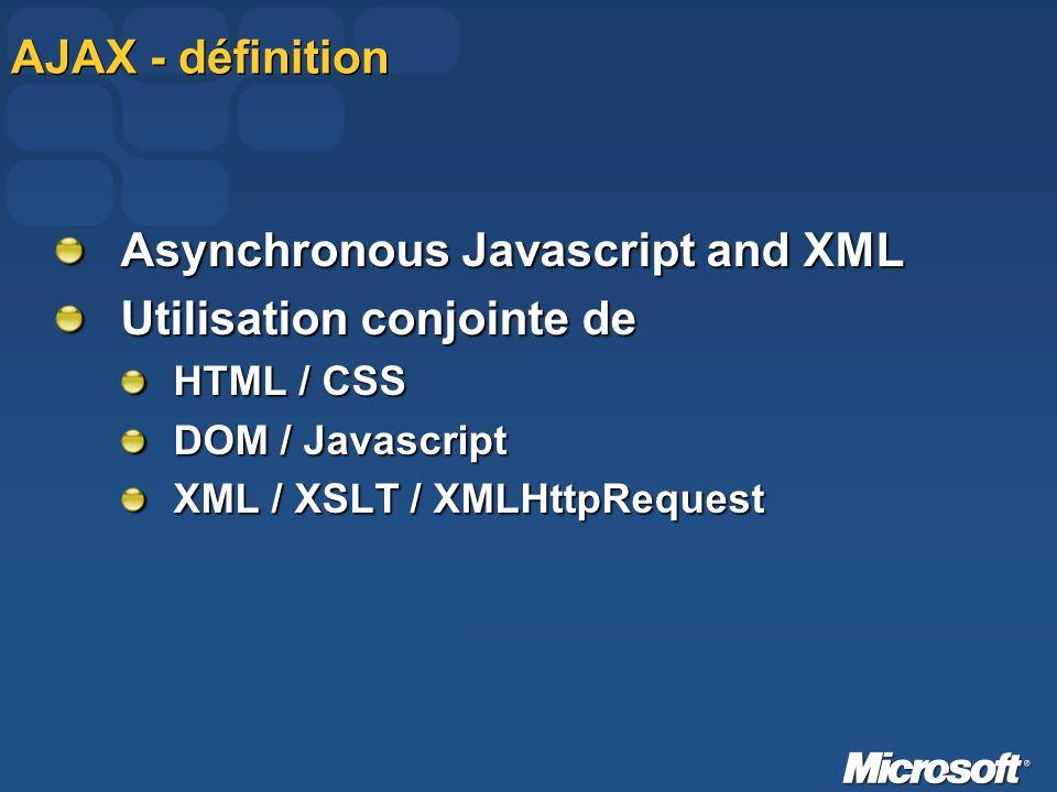 AJAX - définition Asynchronous Javascript and XML Utilisation conjointe de HTML / CSS DOM / Javascript XML / XSLT / XMLHttpRequest