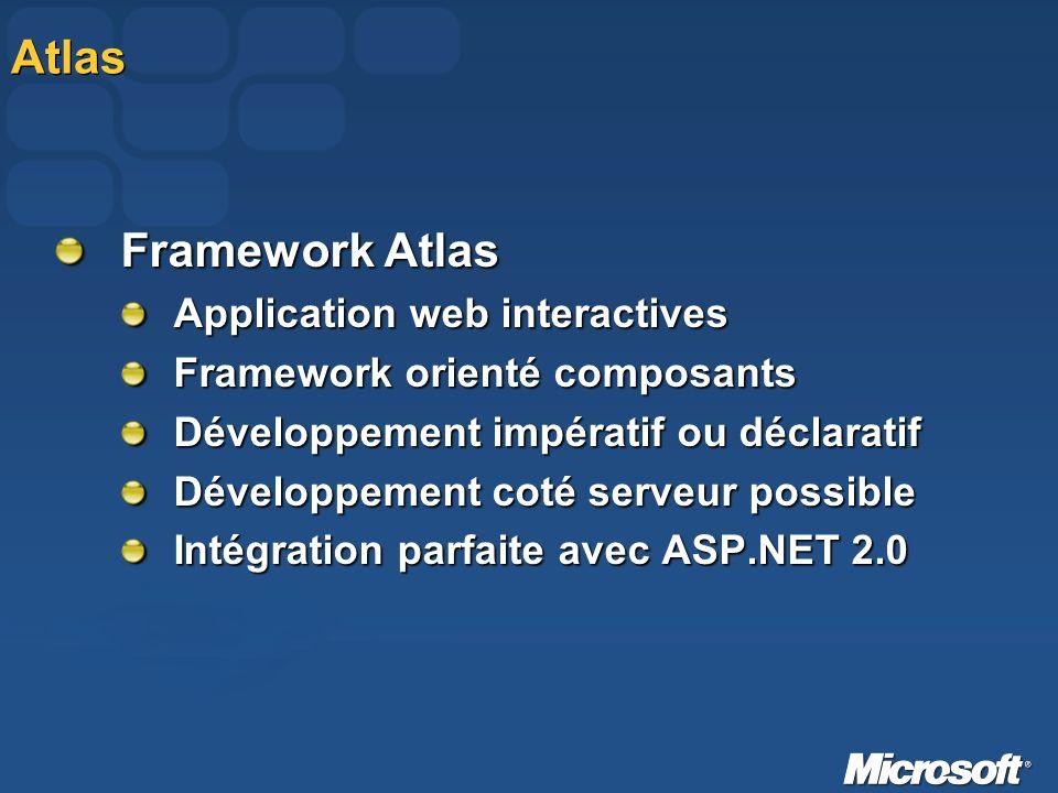 Atlas Framework Atlas Application web interactives Framework orienté composants Développement impératif ou déclaratif Développement coté serveur possi