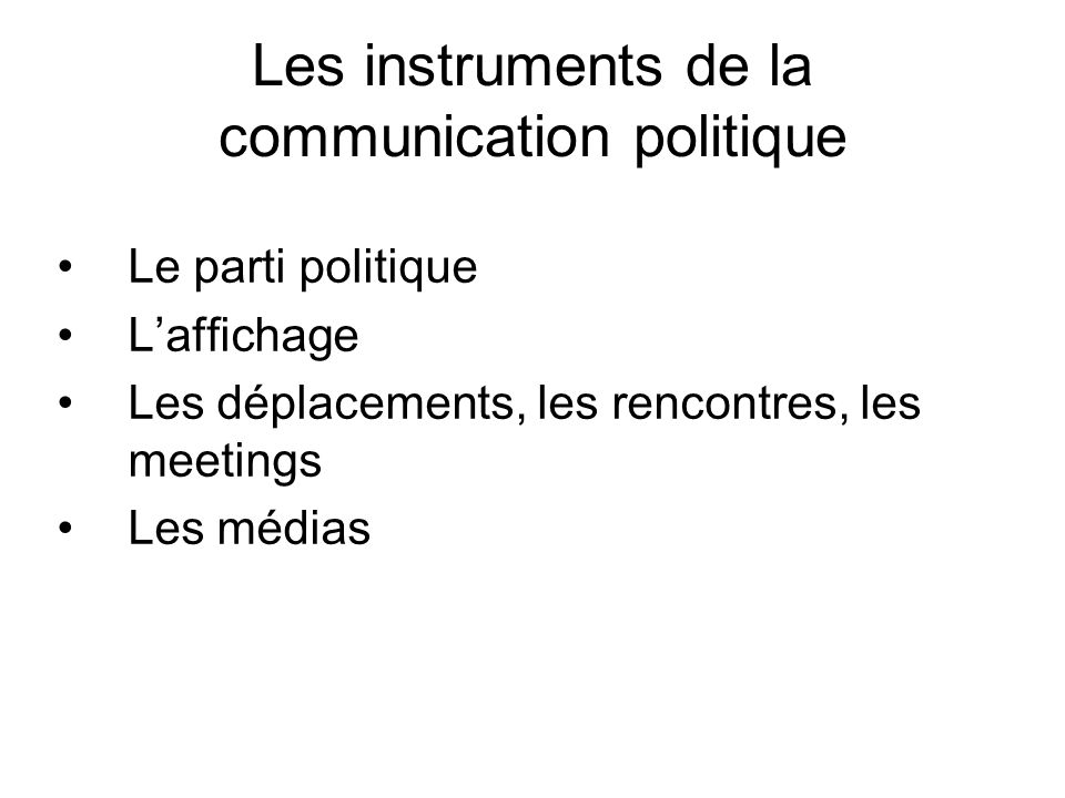 Les instruments de la communication politique Le parti politique Laffichage Les déplacements, les rencontres, les meetings Les médias