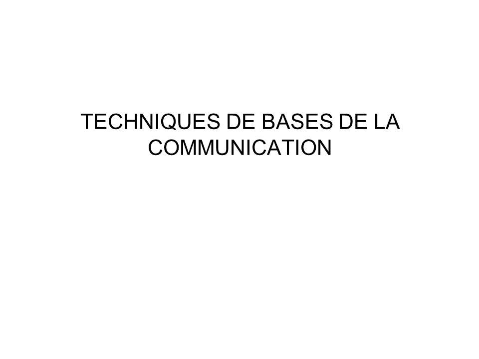 TECHNIQUES DE BASES DE LA COMMUNICATION