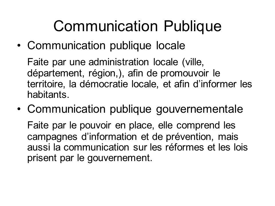 Communication Publique Communication publique locale Faite par une administration locale (ville, département, région,), afin de promouvoir le territoire, la démocratie locale, et afin dinformer les habitants.