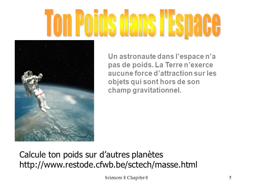 Sciences 8 Chapitre 84 Le poids d un objet de 5.0 kg est denviron 50 N sur la Terre. Fg = m g Fg = m x g Fg = 5.0 kg x 10 N/kg = 50 N Une personne qui