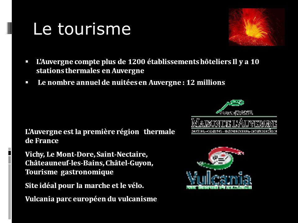 Le tourisme L Auvergne compte plus de 1200 établissements hôteliers Il y a 10 stations thermales en Auvergne Le nombre annuel de nuitées en Auvergne : 12 millions L Auvergne est la première région thermale de France Vichy, Le Mont-Dore, Saint-Nectaire, Châteauneuf-les-Bains, Châtel-Guyon, Tourisme gastronomique Site idéal pour la marche et le vélo.