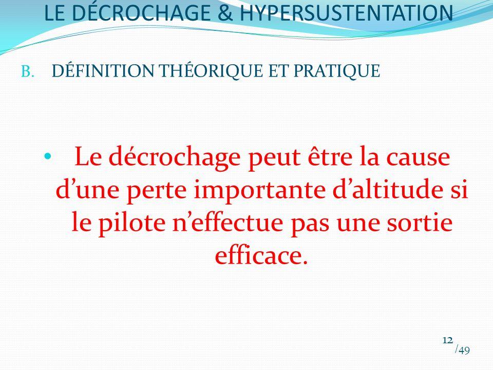 B. DÉFINITION THÉORIQUE ET PRATIQUE Le décrochage peut être la cause dune perte importante daltitude si le pilote neffectue pas une sortie efficace. /