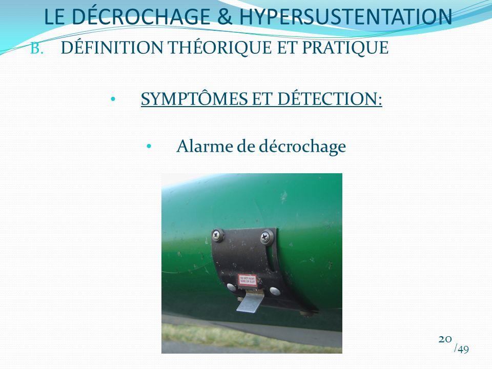 B. DÉFINITION THÉORIQUE ET PRATIQUE SYMPTÔMES ET DÉTECTION: Alarme de décrochage /49 20 LE DÉCROCHAGE & HYPERSUSTENTATION