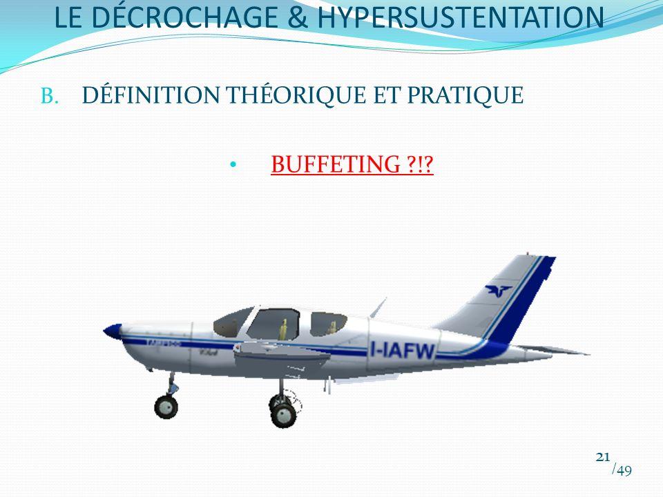 B. DÉFINITION THÉORIQUE ET PRATIQUE BUFFETING ?!? /49 21 LE DÉCROCHAGE & HYPERSUSTENTATION