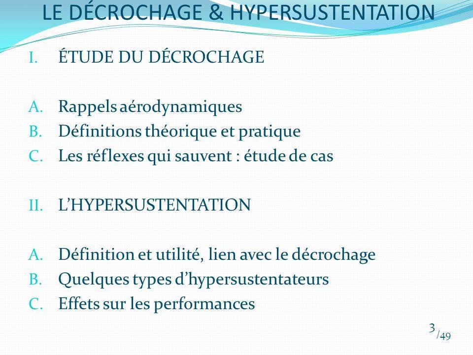 I. ÉTUDE DU DÉCROCHAGE A. Rappels aérodynamiques B. Définitions théorique et pratique C. Les réflexes qui sauvent : étude de cas II. LHYPERSUSTENTATIO