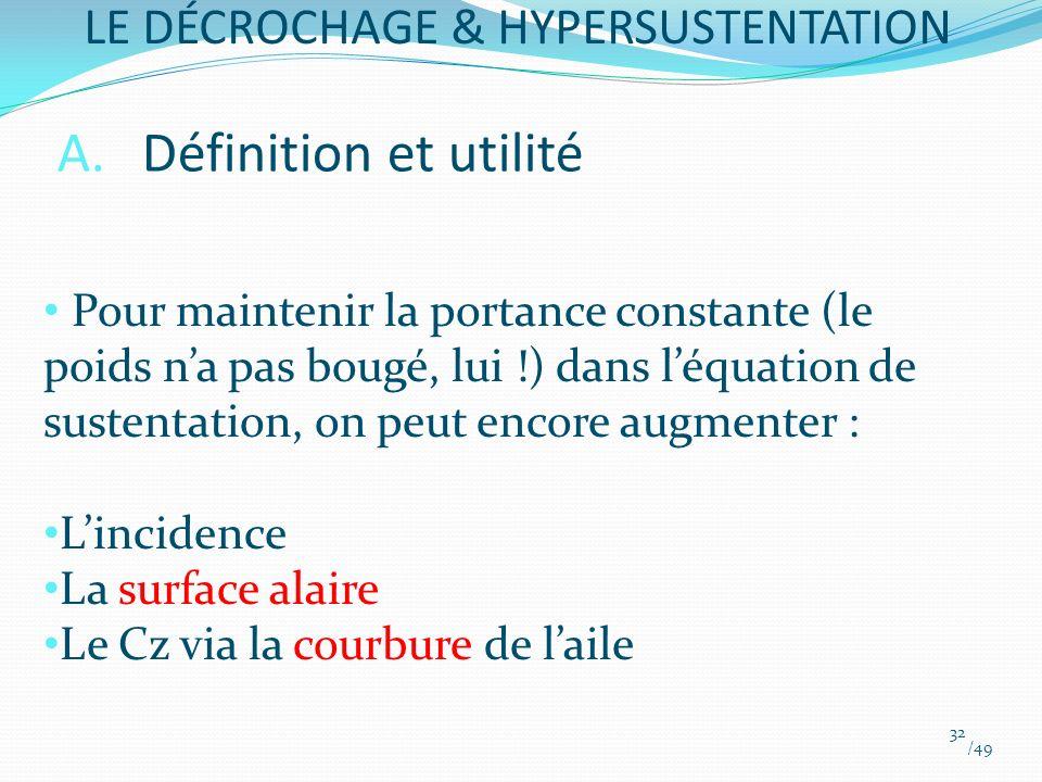 A.Définition et utilité Pour maintenir la portance constante (le poids na pas bougé, lui !) dans léquation de sustentation, on peut encore augmenter :
