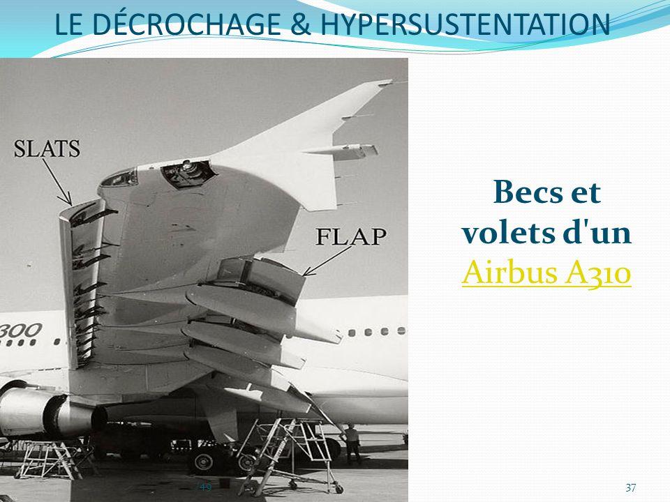 Becs et volets d'un Airbus A310 Airbus A310 LE DÉCROCHAGE & HYPERSUSTENTATION 37/49