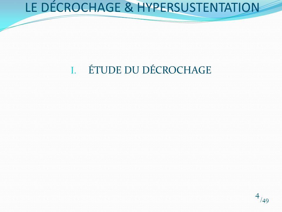 I. ÉTUDE DU DÉCROCHAGE /49 4 LE DÉCROCHAGE & HYPERSUSTENTATION