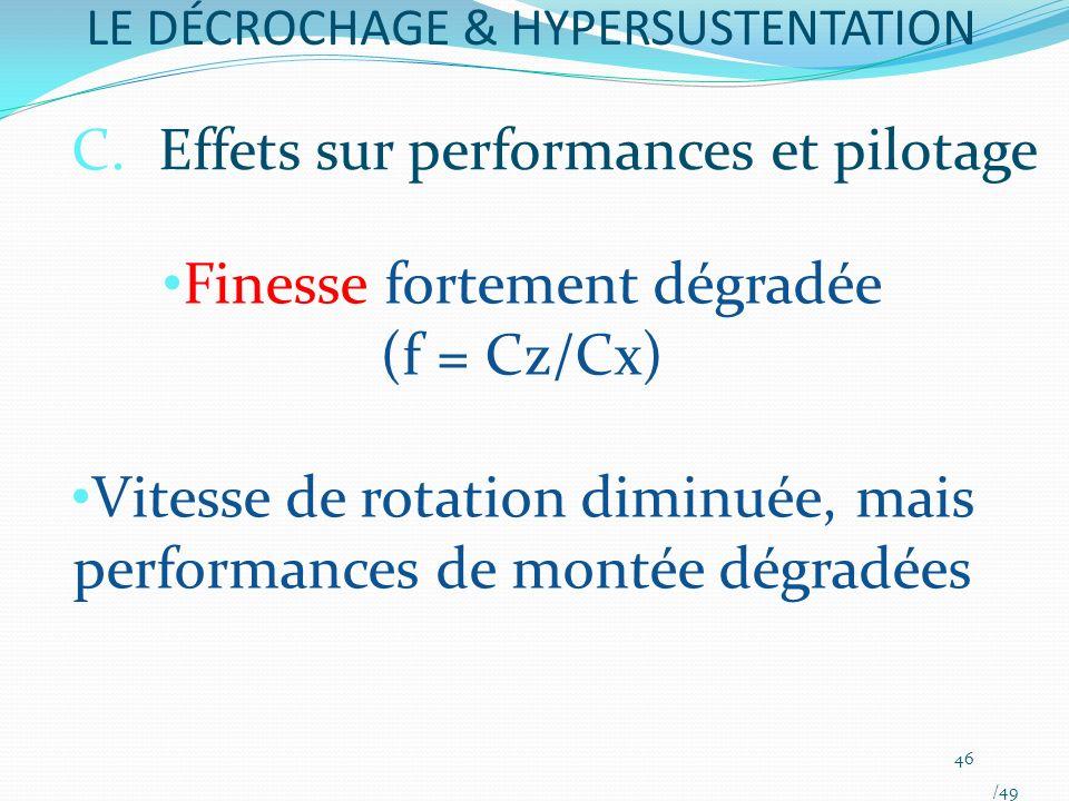 LE DÉCROCHAGE & HYPERSUSTENTATION Finesse fortement dégradée (f = Cz/Cx) Vitesse de rotation diminuée, mais performances de montée dégradées 46 /49 C.